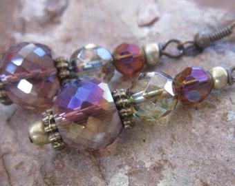 bohemian earrings boho earrings amethyst faceted glass antiqued gold boho chic moroccan Gameday women's earrings dangle  drop  yoga earrings