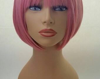 Pink Bob, Short Pink Bob Wig, Chin Length Bob, Bob with Bangs, Pink Bob with Bangs
