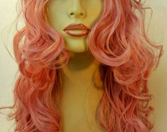 Long Wavey Pink Wig, Pink Wig, Long Pink Wig, Long Layered Pink Wig, Long Face Framing Layers, Curly Pink Wig