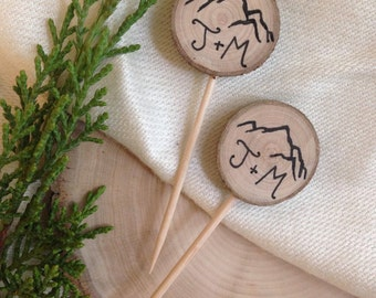 Rustic Wedding Mountain Cupcake Toppers Custom Initials / Rustic Wood / Bridal Shower Party Picks / Wedding Decor / Engagement Party Boho