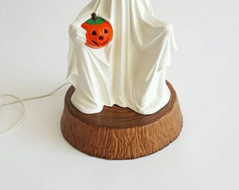 Vintage Ceramic Halloween Ghost on Tree Stump