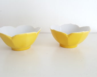 Set of Two Mini Yellow Lotus Bowls