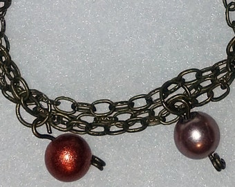 Bracelet with Brown Toned and White Beads, Free Shipping