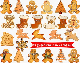 Gingerbread cookies clipart, Christmas cookies clipart, gingerbread man, gingerbread house, Christmas decor, instant download