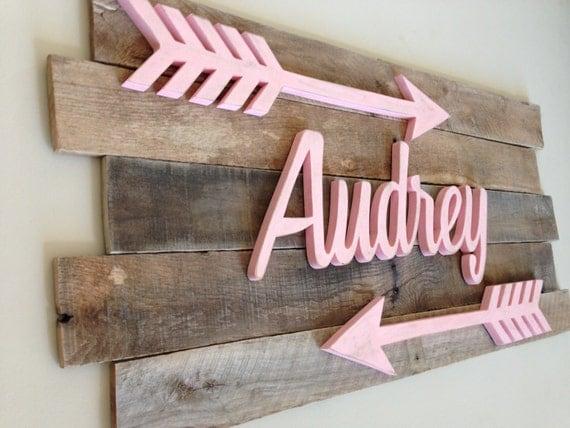 Nursery reclaimed wood name sign distressed nursery name for Baby name decoration ideas