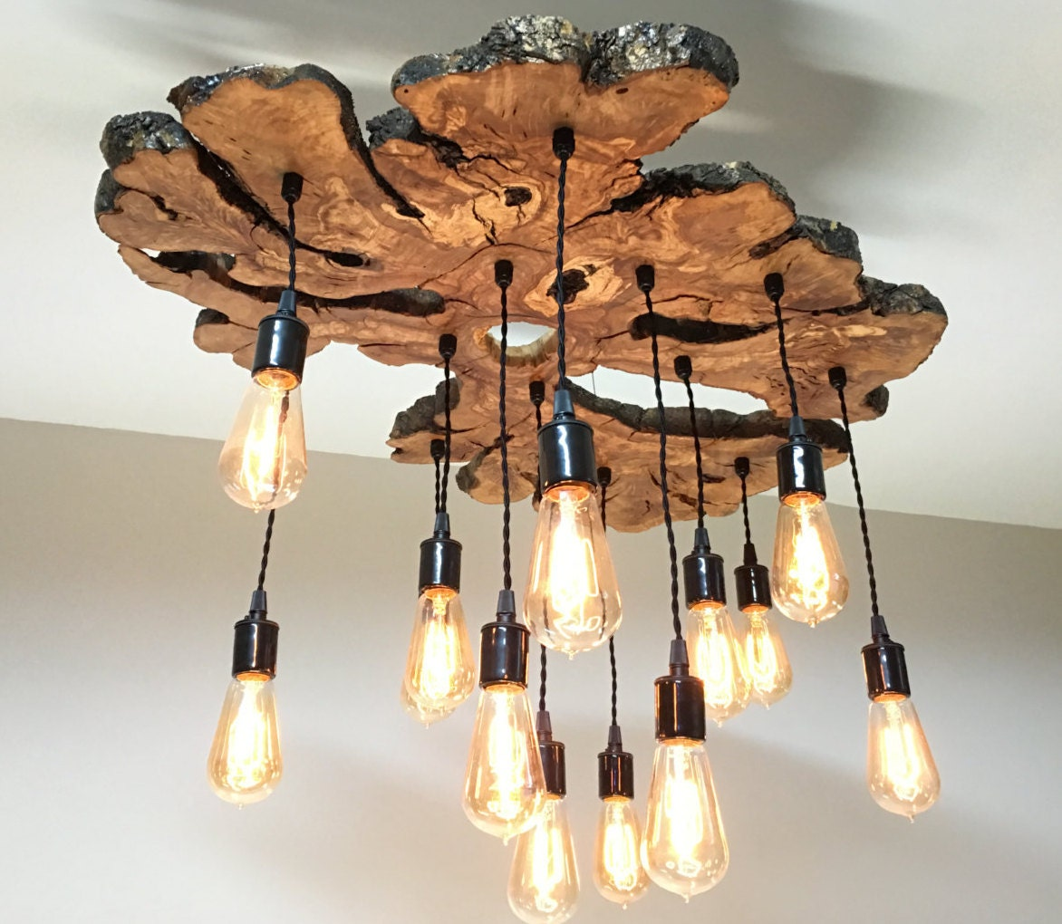 Wood Lighting Fixtures: Large Live Edge Olive Wood Slab Chandelier Light Fixture With