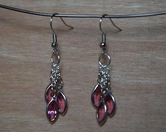 Swarovski Jeweled Dangle Earrings in Rose