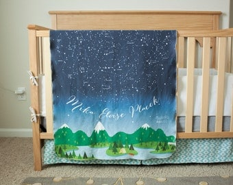 READY TO SHIP - Swaddle Blanket / Toddler Blanket - Constellations (Northern Hemisphere)