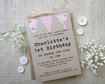 Handmade 1st Birthday invitation - bunting - Birthday party - baby girl