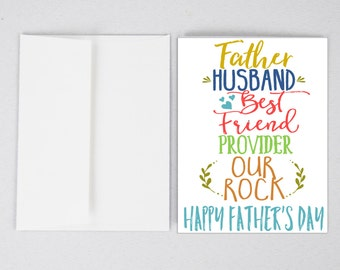 Husband Card, Husband Father's Day Card, Father's Day Card, Greeting Card, Father's Day, Gifts for Dad, Father's Day Print