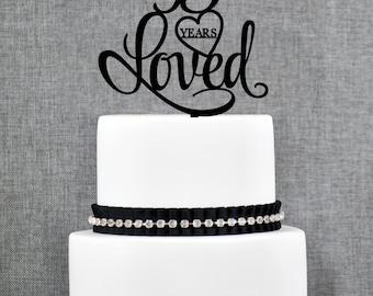 95 Years Loved Birthday Cake Topper, Elegant 95th Cake Topper, 95th Anniversary Cake Topper- (T244-95)