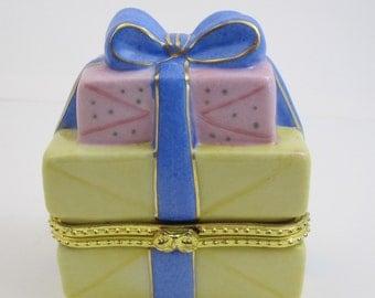 Vintage Stack of Gifts Porcelain Ring Box
