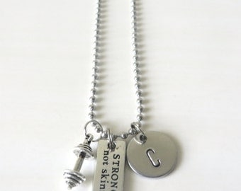 Workout Strong Not Skinny Barbell Hand Stamped Initial Charm Necklace YOU Choose Necklace Length
