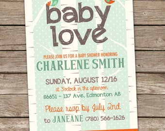 Woodland Baby Shower Invitation, Forest Baby Shower Invitation, Bird Baby Shower Invitation, Printable Baby Shower Invitation, Baby Love