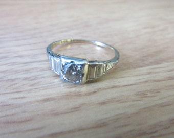 Vintage 1/4 ct Champagne Diamond 14k gold & 18K white gold Engagement Ring