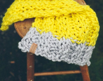 Soft MERINO WOOL Baby Blanket 50cm x 100cm in YELLOW