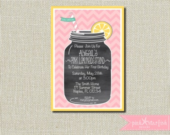 Lemonade Invitation, Lemonade Birthday Party, Birthday Invitation, Lemonade Stand, BBQ Invitation, Chalkboard, Lemonade Party Invitation