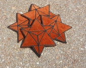 Sacred Geometry Patch, Merkaba Star, Brown Velvet and Black, Iron On, Handmade with Love
