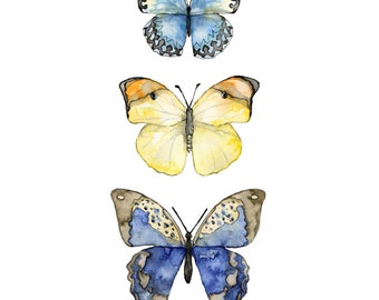 "Butterflies Painting - Print from my Original Watercolor Painting, ""Three Butterflies"", Watercolor Print, Butterfly Print, Butterfly Art"