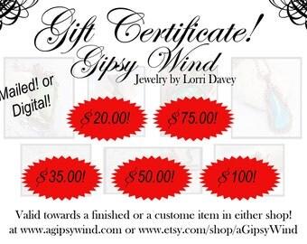 Gift Certificates! Digital or USPS!