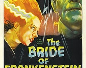 Bride of Frankenstein Boris Karloff Vintage Scary Movie Monster Old Horror Film 1935 Poster Giclee Art Print With Stretched Canvas Options