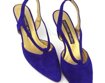 9/40 Vintage Indigo/ Violet Suede Slingback Pumps- Pointed-Toe Slingback Heels- Womens Designer Shoes- Made in Spain- Size 9/40