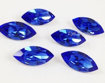 4228 SAPPHIRE 15x7mm 4pcs Swarovski Crystal XILION Navette Foiled Back Dark Blue