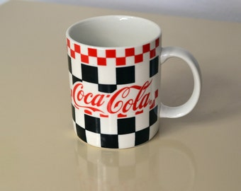 One (1) Coca Cola Diner Mug Heavy Diner Dishes Coca Cola Dishes Coke Coffee Mug Coke Mug Gibson Vintage 1996 Red Black Checkered Diner Fun