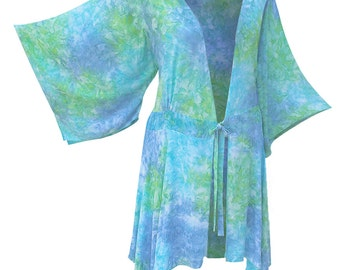 Women's Plus Size Tunic, Kimono Sleeve Cardigan for Plus Size Clothes, Women's Plus Size Cardigan,  Handmade Batik Jacket, One Size (1X-3X)
