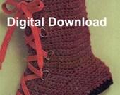 Hiking Boot Crochet Christmas Stocking, Vintage Christmas Sock, Holiday Decorating Pattern, PDF Instant, Digital Download, Retro