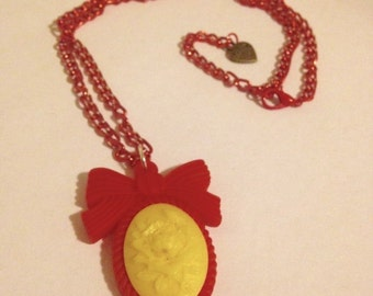 Red Kawaii Cameo Necklace