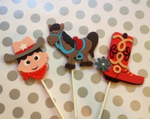 Set of 3 Cowboy Centerpieces, Cowboy Baby Shower Decorations, Cowboy Birthday Decorations, Cowboy Cake Topper, Cowboy Diaper Cake, Gift Set