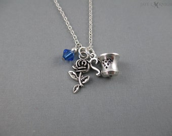 Beauty and the Beast Rose and Tea Cup Necklace - Belle - Silver Charms