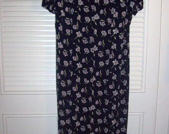 Prairie Dress 8, Vintage Talbot's  Prairie Classic Preppy Maxi Dress, V Neck, Front Buttons Size 8