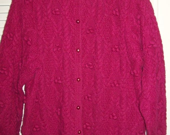 Vintage Northern Isles Hand-knitted Cardigan Popcorn Intricate Cable Sweater Large