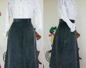 60s Green Corduroy Skirt | 60s Corduroy Skirt | 1960s Skirt | 60s Skirt | 60s Flared Skirt | 60s Aline Skirt | 1960s Skirt | 24 Waist