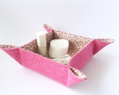 Bedside table tray, Makeup organiser, Pink desktop caddy, Catchall tray, Fabric key bowl, Coaster holder, Napkin storage basket, Fuchsia