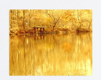 New York canvas Central Park Photography, gold yellow photography, New York City park gazebo water reflection, amber bronze brown canvas art