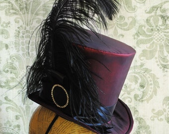 Victorian WOMEN's Top Hat,Gothic Burgundy Top Hat,Gothic Tea-party Top Hat - Ready to Ship