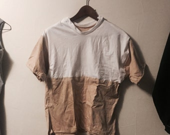 Block Tee, Tan + White