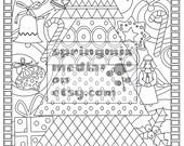 Christmas coloring page -  Holiday Xmas Tree - Christmas Treats Holiday Coloring Book - Adult Coloring Page