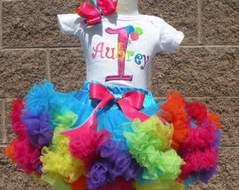 Balloon Inspired Birthday Number Pettiskirt -Personalized Birthday Pettiskirt,Sizes 6m - 14/16 - Balloon Party