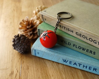 By the Shed Tomato Keyring Key Chain - Red Fruit - Keys - Fruit - Allotment - Gardening - Vegetarian Gift - Mediterranean - Vegetables