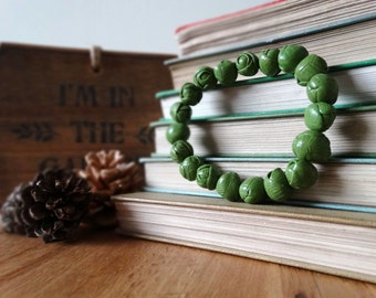 By the Shed Brussels Sprouts Green Bracelet - Polymer Clay, Elasticated - Festive, Christmas, Seasonal, Novelty, Xmas Lunch, Sprout, Cabbage