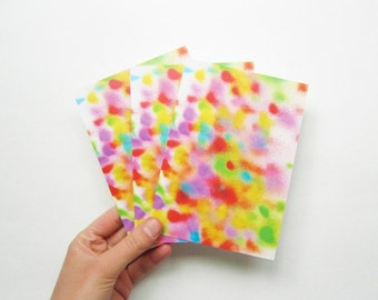 Postcards by 3 digital printing colorful airbrush dots print on 100% recycled paper