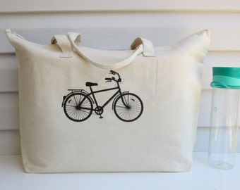 Cotton Canvas Tote, Cotton Tote, Bicycle Tote, Bike Tote, Bicycle, Bike, Wedding Tote Bag, Market Tote, Shopping Tote