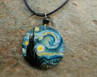 Pendant STARRY NIGHT -V.Van Gogh - freehand painted wood