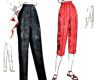 "50s Vogue 6822 Narrow Slacks in Long or Peddle Pusher Length with Belt Finish at Waistline Vintage Sewing Pattern 26"" Waist 35"" Hip"