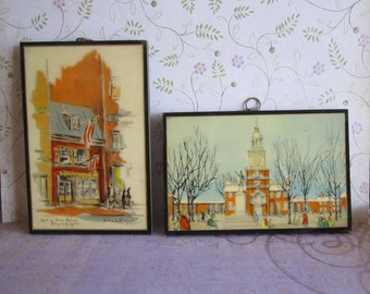 Vintage John Wanamaker Art Gallery Plaques Helen L Woerner 1930 and an Unknown Artist Plaque