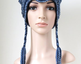 Cat Ear Beanie, Navy Blue Winter Hat, Women's Earflap Hat, Light Blue Teen Girl Animal Hat, Unique Crochet Hat